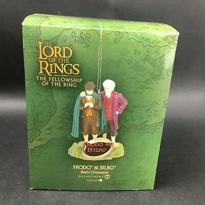 Retired 2001 FRODO & BILBO Lord of the Rings Resin Ornament Dept. 56