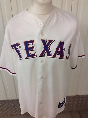 4d57f53d8 Majestic MLB Texas Rangers Baseball Jersey in White Red Blue Size S