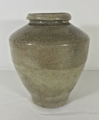 """Ancient Song or Yuan Dynasty Chinese Stoneware Vase 6.5"""" Crackle Glazed Antique"""