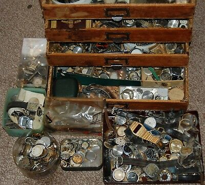 Collection / Cabinet of old watches pocket watch parts movements lenses etc etc