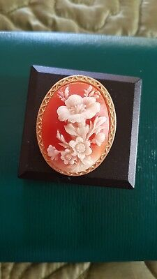"""Antique Vintage Large 2"""" Cameo of a Bunch Flowers well carved Gold Tone Mount"""