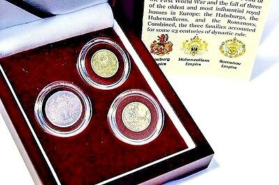 Twilight Of The Empires,The Last Royal Houses Of Europe 3 Silver Coin Set,Boxed