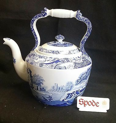 "Spode Blue Italian Large Tea Kettle 12 1/2"" Made In England *new*"
