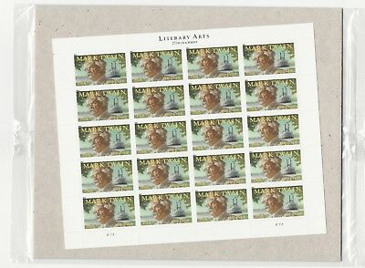 2011 #4545 Mark Twain Literary Arts Series Pane of 20 Forever Stamps (Sealed)