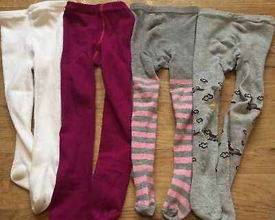 Lot Of 4 Tights Footed  Baby Girl Size 2T