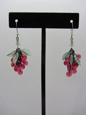 """Cranberry Glass Grape Cluster Chandelier Earrings 2"""" L on Sterling Silver Wires"""