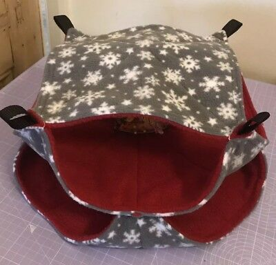 New TRIPLE Decker Quilted Hammock For Rats+small Animals. CHRISTMAS + RED FLEECE