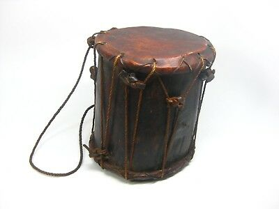 Antique Vintage African Carved Wood and Leather Drum Music Instrument Africa
