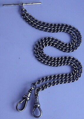 Fantastic antique solid sterling silver double pocket watch albert chain