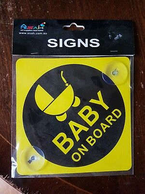 BABY ON BOARD CHILD SAFETY SUCTION CUPS CAR VEHICLE SIGN  (New)