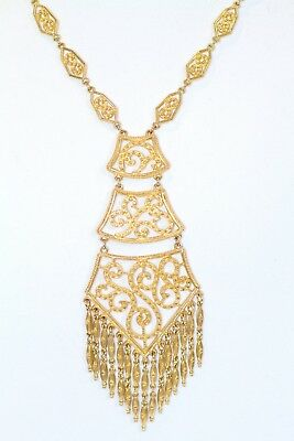 Vintage RARE HUGE Tiered FRINGE PENDANT NECKLACE STATEMENT RUNWAY Haute COUTURE