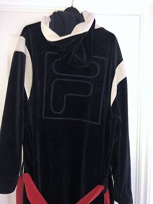 FILA VINTAGE LOUNGER DRESSING GOWN NAVY/WHITE With Hood Size Small/Medium £70