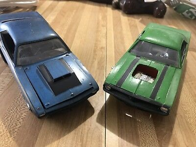 Lot Of Two Vintage Plymouth Barracuda Model Kits Built Up Parts Or Repair 1970s