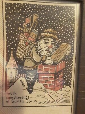 Patriotic Early Victorian Santa Claus Print Christmas Banner Father Whimsical