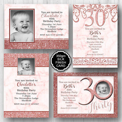 10 Personalised Birthday Party Photo Invitations 16th 18th 21st 30th 40th E453