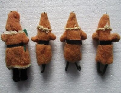 St Nick SANTA CLAUS Father Christmas spun cotton figure ORNAMENTS ~ lot of 4