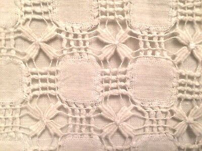 """Vintage Unused French Linen Pillowcase Hand Embroidery """"ab"""" Mono 28.5"""" Square"""