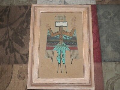 """Authentic Navajo Sand Art Signed And Titled Female Lidded Box 7.5"""" X 5.5"""""""