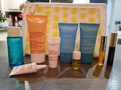 Clarins 10pc Gift Set Christmas Hydra Cream Blue Orchid Oil Mascara New RP £58