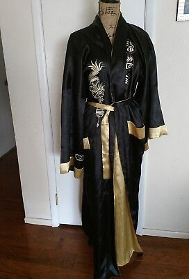 Beautiful Satin Kimono robe Reversible Gold And Black With Chinese Dragon #2