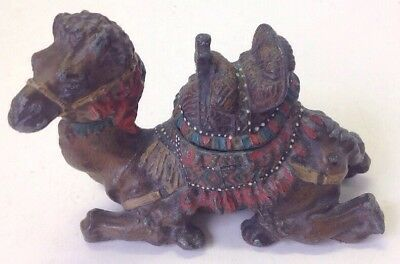 """Antique Art Deco Arabian Style Figural Camel Inkwell Painted Cast Metal 5 1/2"""" T"""