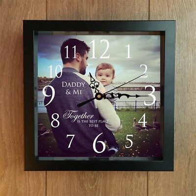 """Personalised Clock Fathers Day Gift Black, Oak Or White 10"""" Frame Any Quote"""