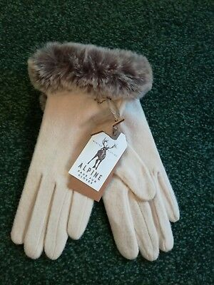 ladies beige gloves with grey faux fur - brand new