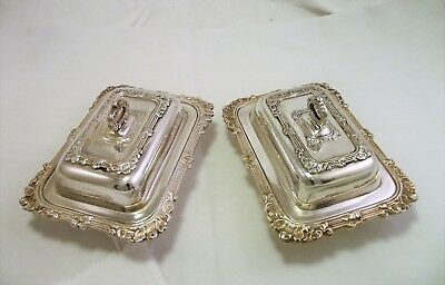 Pair Of Vintage Miniature Entree Dish Butter Dishes - Viners