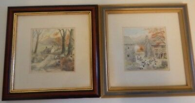 Pair of Vintage Small Sheep Prints Framed
