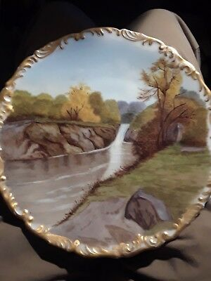 Stunning Hand Painted Artist Signed 1896 TV Limoges France Waterfall Scene Plate