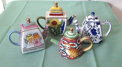 Vivian Chan Miniature Tea Pots, 4, Angel, Cat, Sunflower, Blue & White, Nice Lot