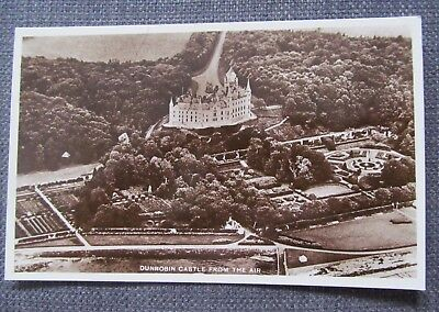 Dunrobin Castle From The Air- Real Photograph postcard - grounds. trees,