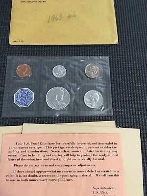 1963 Us Mint Proof Coin Set **90% Silver Halfdollar, Quarter, Dime** Ogp