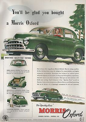 Morris Cowley Oxford Saloon You'll Be Glad You Bought 1953 Vintage Advert