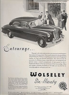 Wolseley Cowley Oxford Six-Ninety Saloon Entourage £806 1956 Vintage Advert