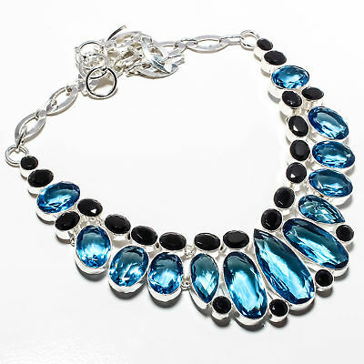 "Blue Topaz Gemstone 925 Sterling Silver  Necklace 16-18"" 23054"