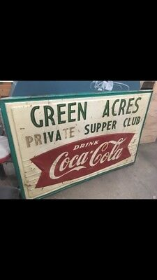 Rare Large Old Vintage Coke Coca Cola Metal Store Sign