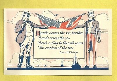 Postcard WWI HANDS ACROSS THE SEA FRIENDSHIP CHECK BOOK Laura E. Richards