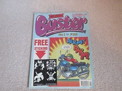 BUSTER COMIC  + free gift stickers- Sept 21st 1991-,  very Good condition