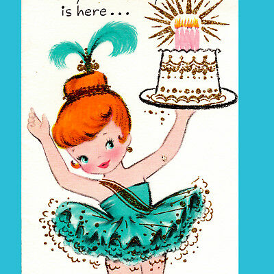 Vintage BIRTHDAY CARD Pretty Little Girl BALLERINA Pointe Shoes RED HAIR Laurel