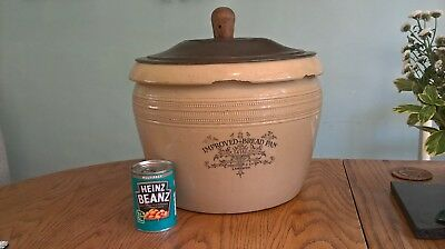 Antique huge lidded pot: The Improved Bread Pan by Doulton & Co, Lambeth  6G