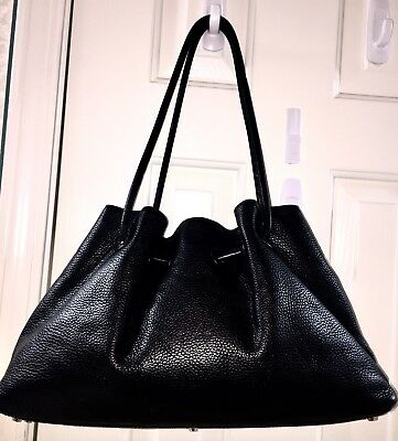 Paolo Masi Italy Genuine Leather Black Shoulder Bag Luxe Handbag Studded