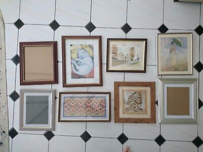 JobLot of 8 Mixed Antique Vintage Retro Modern Picture Photo Frames WITH GLASS