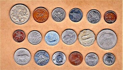 World Animals 18 coins 'Mixed collection w/Spectacle'd Bear,Sea Horse,Hippo etc.