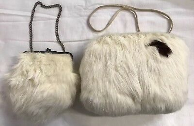 VINTAGE 1960's Child's White Rabbit Fur Hand Muff Handwarmer and Matching Purse