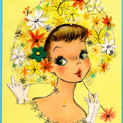 Vintage BIRTHDAY CARD Pretty Teen Girl FANCY FLOWER HAT Yellow HALLMARK Greeting