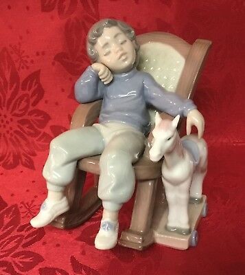 Lladro Porcelain Figurine  ALL TUCKERED OUT BOY IN ROCKING CHAIR #5846