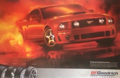 ORIGINAL BF GOODRICH SIGN OF A FORD MUSTANG 2'x3' POSTER