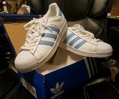 NEW  Adidas Superstar white and ligh blue BY3716 Originals Men's Shoes Size 9