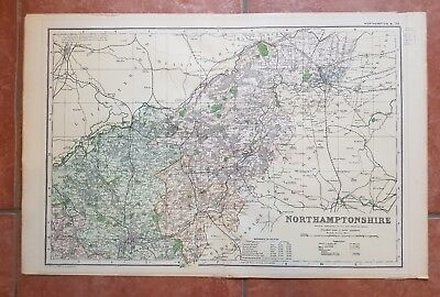 Early 20th century map Bacons Geographical Establishment NORTHAMPTONSHIRE